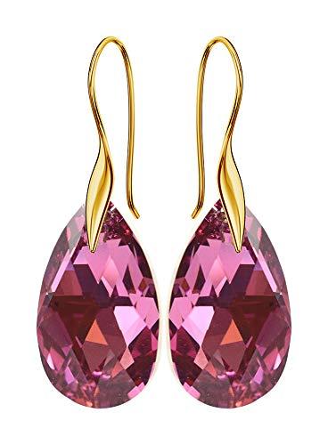 Crystals & Stones haakjes verguld *MANDELE* 22 mm *Rose CAL* Mooie oorbellen dames oorbellen met kristallen van Swarovski Elements - Prachtige oorbellen met sieradenetui