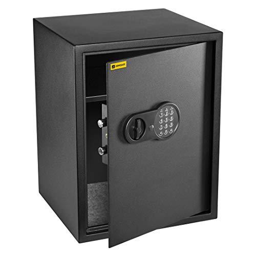 Homesafe HV52E Tresor Safe mit Elektronischem Schloss, 52x40x36cm (HxWxD), Carbon Satin Schwarz