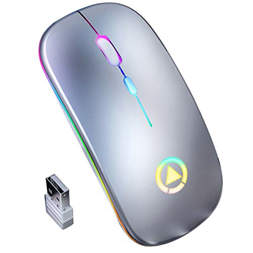 QINQI 2.4GHz Rechargeable Wireless Mouse,Ultra Slim Design Bluetooth Wireless USB Receiver for Office Computer
