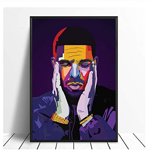 Drake WPAP Pop Art Hiphop Rapper Musik Sänger Poster Drucken Wandkunst Malerei Wohnkultur Leinwanddruck Druck auf leinwand-50x70 cm Kein Rahmen