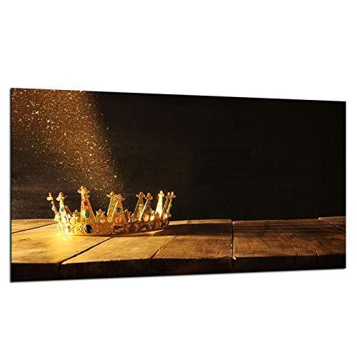 TMK | Placa protectora de cocina de 90 x 52 cm de vidrio para cubrir la vitrocerámica de inducción protección contra salpicaduras placa de vidrio decorativa tabla de cortar, corona