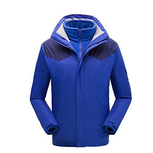 Schneeanzug Kinder 2 in 1 Winddichte Wasserdichte Dicke Fleece warme Schneeanzug Ski Jacke Jungen Mädchen und Kinder (Farbe : Blau, Größe : 140)