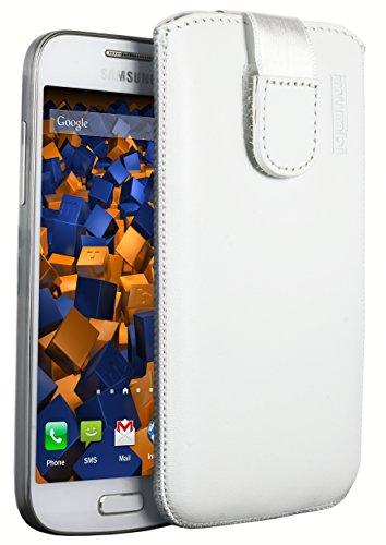mumbi Echt Ledertasche kompatibel mit Samsung Galaxy S4 mini Hülle Leder Tasche Case Wallet, weiss