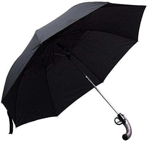Regenschirm im Pistole Design - Schwarz ca. 100 cm Durchmesser - Gadget Taschenschirm als Geschenkidee - Grinscard