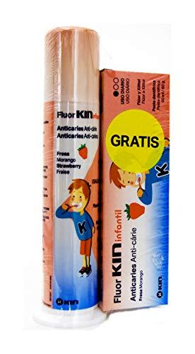 Pack Flúor Infantil Kin pasta fresa con dosificador 100 ml + pasta fresa 50 ml