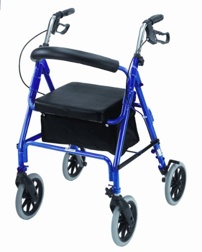 Mabis Dmi Healthcare Freedom Series Deluxe Aluminum Mobility Rollator, Adjustable Ergonomic Handles with Brakes, Royal Blue