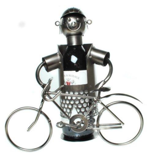 GILDE Flaschenhalter Fahrradfahrer Fahrrad Weinflaschenhalter Wein Weinständer H 28 cm