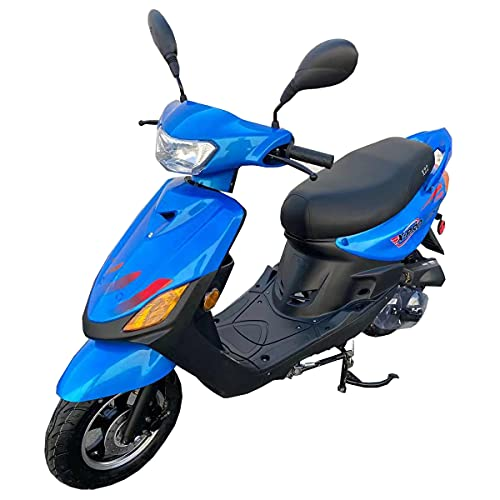 """X-PRO X22 50cc Moped Scooter Street Scooter Gas Moped 50cc Adult Scooter Bike with 10"""" Aluminum Wheels!Fully Assembled in Crate! (Blue)"""
