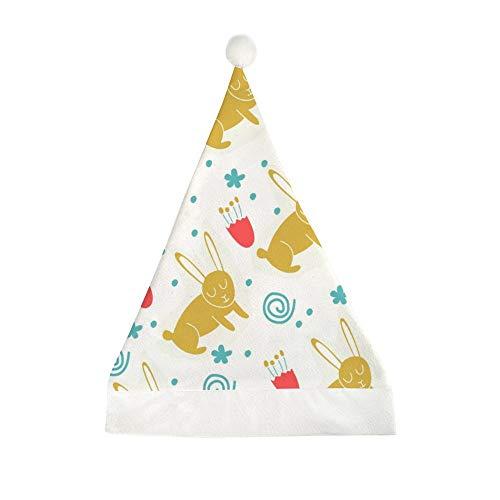Mesllings Weihnachtsmütze mit Hasen und Blumen, bedruckt, lustig, Partyhut, Weihnachtsmütze, Weihnachtsmannmütze, Geschenke für Unisex-Erwachsene – 58 x 40 cm