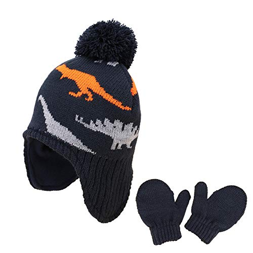 Baby Toddler Kids Winter Hats and Gloves Set Kint Earflap Beanie Warm...