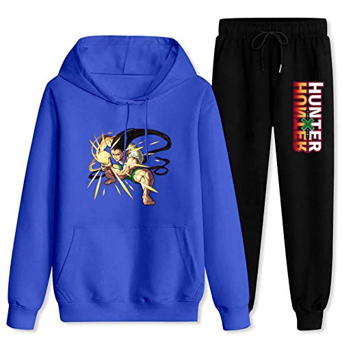 CAPINER Sportswear Sets, Anime Tracksuit Hunt-er-x-hu-nter Hoodies Sweatshirt Sweatpants Suits for Men Women Women-S Blue and Black