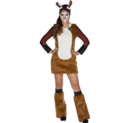 Mottoland Disfraz de Mujer Vestido de venado Animal con Diadema Carnaval marrón leonado (38/40)