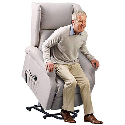 BAKAJI Poltrona Alzapersona Elettrica Motorizzata Reclinabile in Tessuto con Tasca Porta Telecomando per Anziani e Persone Disabili Colore Beige