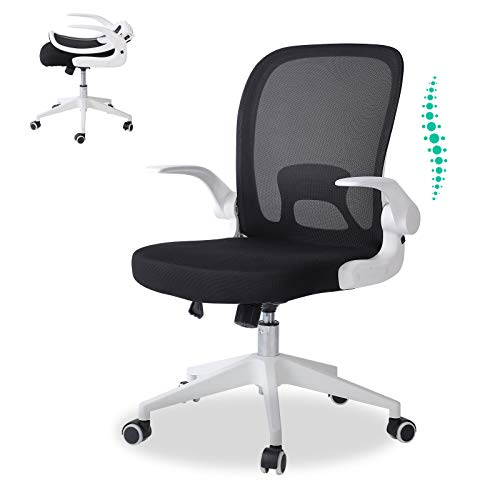 OBBOLLY Ergonomic Mid Back Office Chair - Home Office Desk Chair with Foldable Backrest and Flip-Up Arms, Breathable Mesh Executive Computer Task Chairs with Wheels and Adjustable Height (White)