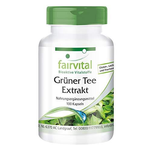 Grüner Tee Kapseln - Green Tea - mit Koffein, Polyphenole & EGCG - HOCHDOSIERT - VEGAN - 100 Kapseln - Camellia sinensis