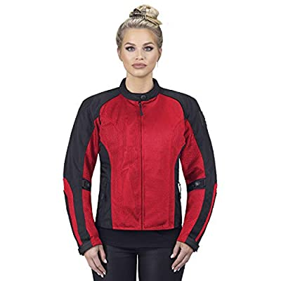 Viking Cycle Warlock Armored Mesh Motorcycle Textile Jacket for Women - CE Approved, Form Fitting, Lightweight Biker Apparel (Large, Red)