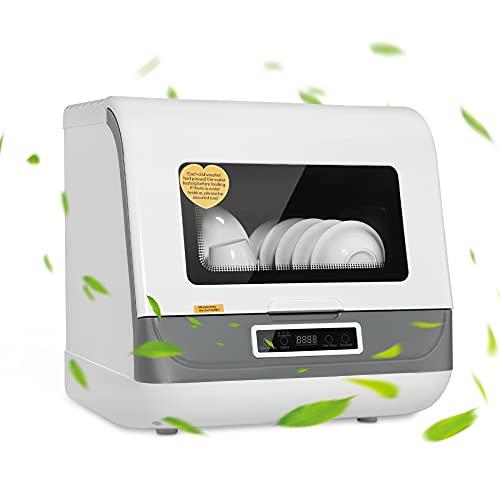 BITOWAT - Lavavajillas mini con 6 cubiertos y 8 L, gran capacidad, apto para 4-6 personas, desinfección a alta temperatura, sin instalación del lavavajillas pequeño