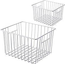 SANNO Large Freezer Wire Storage Organizer Basket, Open Refrigerator or Freezer Food Storage Bin with Handles for Cabinets...