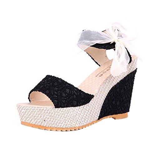 Btruely Sandalen Damen Sommer Mode Steigung Sandalen Böhmen Schuhe Damen Flach Sandalen Hochhackigen Pantoffeln Flip Flops (38, Schwarz)