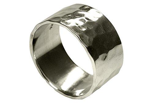 SILBERMOOS Ring Damen Herren Partner-Ring Bandring glänzend gehämmert breit Sterling Silber 925, Größe:62 (19.7)
