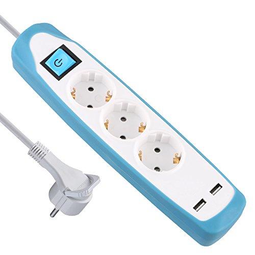 Electraline Gummy 62154 Regleta Base 3 Enchufes y 2 USB 2.1A - Cover de silicona - cable 2 m clavija plana