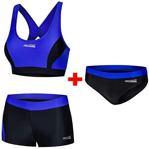 Aqua Speed Damen Sport Bikini Set + Bikinihose | Bademode Hose für Mädchen Frauen | Zweiteiler Schwimmsport | Coole Sportbikini | Swimming Pool | Schwimmbad | Gr. 36, 14 Black - Blue | Fiona