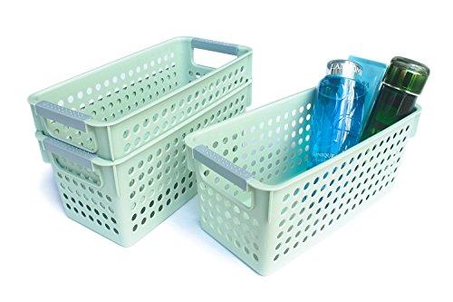Honla Slim Plastic Storage Baskets Bins Organizer with Gray HandlesSet of 3Green