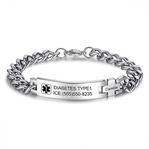 Jewelora Pulseras de identificación de alerta médica personalizadas, grabadas para adultos para hombres, mujeres, señoras, pulsera, cadena de plata, pulsera deportiva, pulseras médicas de emergencia