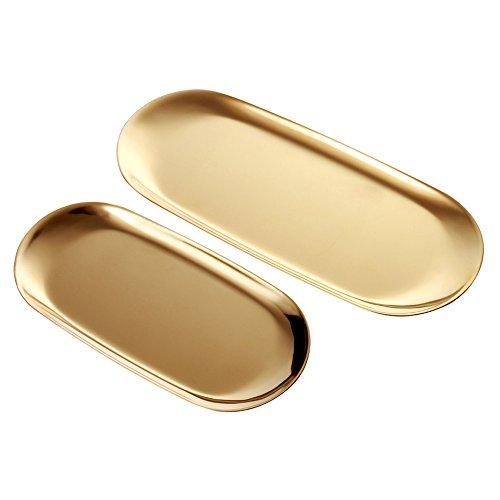 ANZOME 2 Sätze Gold Oval Edelstahl Schmuck Tablett, Handtuchablage Teller Teller Tee Obstschalen Kosmetik Schmuck Teller – 2 Größe