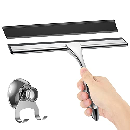 AISEELY Shower Squeegee, Stainless Steel Purpose Squeegee for Shower Doors, Bathroom, Windows, Kitchen, Mirror and Glass Walls, Multi- Squeegee with Suction Cup Hook and Rubber Blade 10 Inches