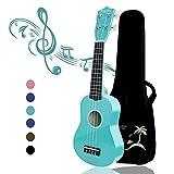 Strong Wind Ukelele soprano para principiantes Guitarra para niños de 21 pulgadas y 4 nylon cuerdas Un regalo de instrumento musical adecuado para niños amigos y principiantes Con bolsa (Azul Claro)