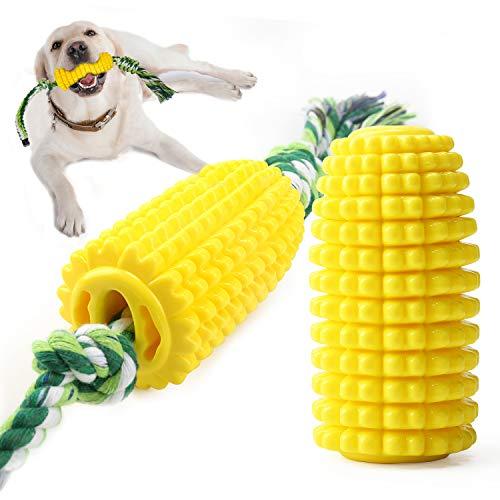 Juguete masticable de goma para perros con cepillo de dientes de perro en forma de maíz de cuerda fuerte