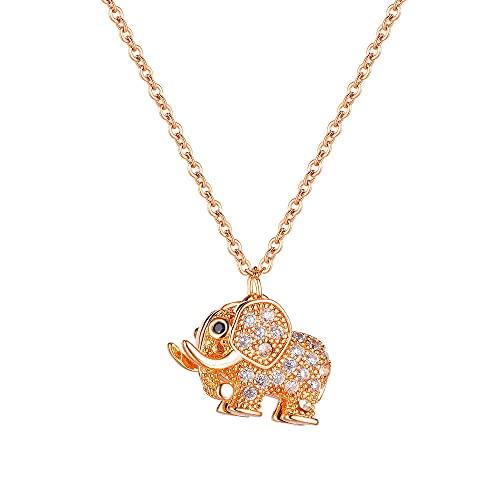 Collar Moda todo fósforo acero titanio plateado oro rosa elefante collar joyería para damas