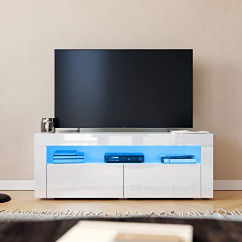SONNI Mesa de TV Blanco Brillo,Mueble TV de Salón con LED 120x40x45cm