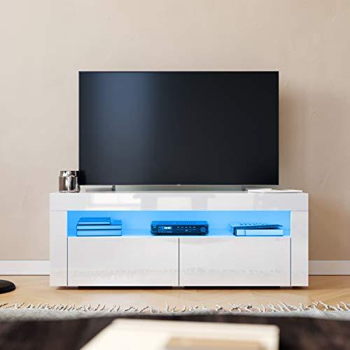 SONNI Mesa de TV Blanco Brillo,Mueble TV de Salón con LED 120x40x45cm