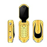 F18 Mini Flip Cellphone Unlock GSM Phone 2 in 1 Bluetooth Dialer Voice Changer 2G Student Mobile Phone with Fashion Car Design (Gold)