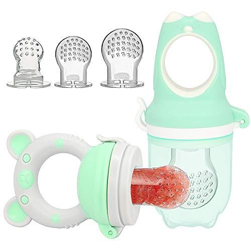 2 Fruchtsauger für Baby Kleinkind 3 Silikon-Sauger Schnuller Beißring für Obst Gemüse Brei Beikost (Grün)