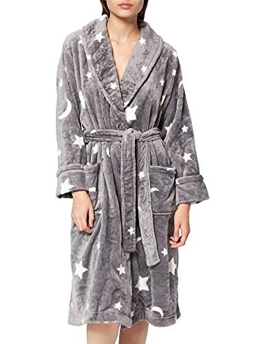 Marca Amazon - IRIS & LILLY Albornoz de Forro Polar para Mujer, gris, M, Label: M