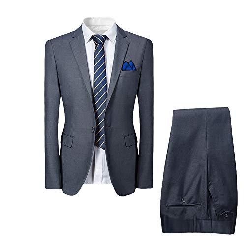 Allthemen Hochzeitsanzug Herren Anzug Slim Fit Herrenanzug Anzüge für Hochzeit Business Party Grau L