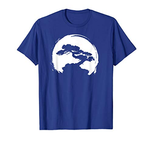 Vintage Bonsai Tree Silhouette Retro Zen Circle T-Shirt