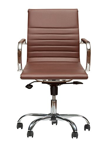 Winport Furniture Mid-Back Executive Leather Armrest Desk Chair, Brown