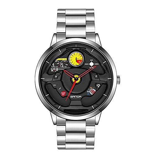 HEEYEE Reloj de Rueda de Coche de los Hombres, Moda Impermeable al Revestimiento de dirección de la Rueda de la Rueda de los Hombres Rim HUB Reloj Run Hombres Reloj de Pulsera de Cuarzo,Plata