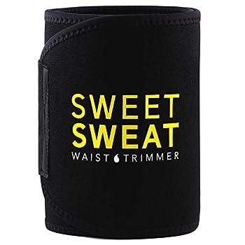 Sweet Sweat Waist Trimmer - Black/Yellow Logo   Premium Waist Trainer Belt for Men & Women  Large