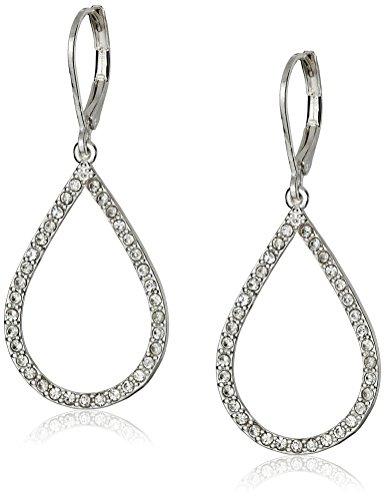 Anne Klein Ready To Shine Silver-Tone/Crystal Teardrop Earrings