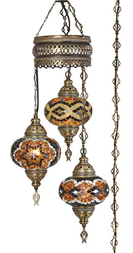 Demmex 2019 Turkish Moroccan Mosaic Hardwired OR Swag Plug in Chandelier with 15feet Cord Cable Chain & 3 Big Globes (Amber) (Amber (Plug in))