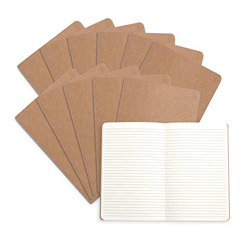"""Blue Summit Supplies Travel Journals, Bulk 12 Pack Journal Set with Lined Paper, Lightweight Journal with Kraft Paper Covers, 8.25"""" x 5.5"""" (21cm x 14cm), 60 Pages, Set of 12"""