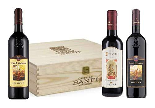 Cassetta Degustazione -Banfi- Brunello di Montalcino DOCG + Rosso di Montalcino DOC + Chianti Classico DOCG 75 cl Ottima Idea Regalo !
