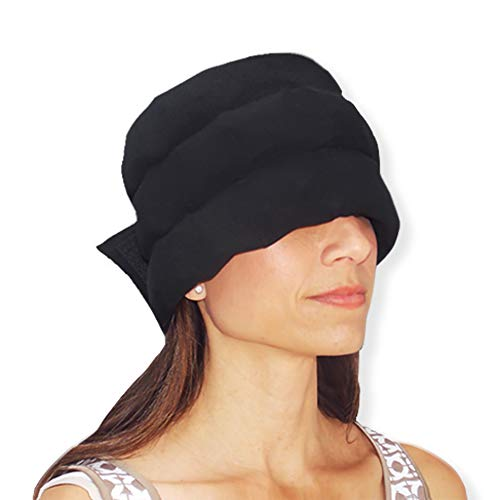 HEADACHE HAT The Original - Wearable Flexible Three Row Ice Pack for Migraines & Tension Headaches Eye Mask Long Lasting Cooling No Mess Ice Therapy Stress Relief Tension Relief XL (Black)