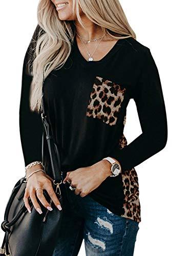 Diukia Women's Sexy V Neck Long Sleeve T Shirts Leopard Print Patch Pocket Shirts Long Sleeve Tunic Tops Black M