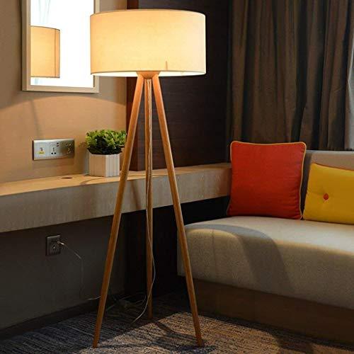 KEKEYANG LED Led nórdica Lámpara de Piso, Sala de Estar Dormitorio de la lámpara Creativa Moderna del trípode de Madera Maciza Lámpara de Piso, Eye-Cuidado Vertical luz del Piso Lámpara